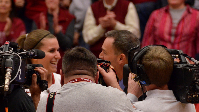 Jeanette Pohlen was swarmed by the media after her 31-point career high game.