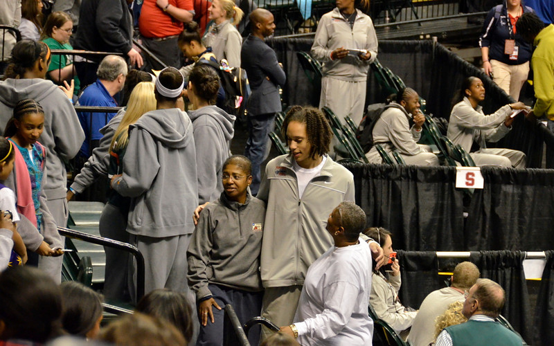 Before the high-school all-american game, Brittney Griner talks to fans. The Baylor team attended as spectators.