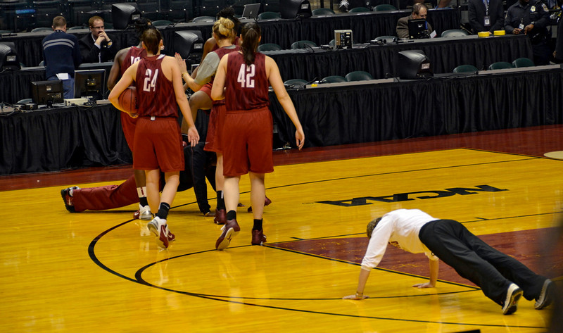 Amy and Bobbie apparently lost the 3-point contest and had to do push-ups, Bobbie with two feet on her back.