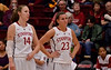 Jeanette and Kayla watch an Oregon free throw