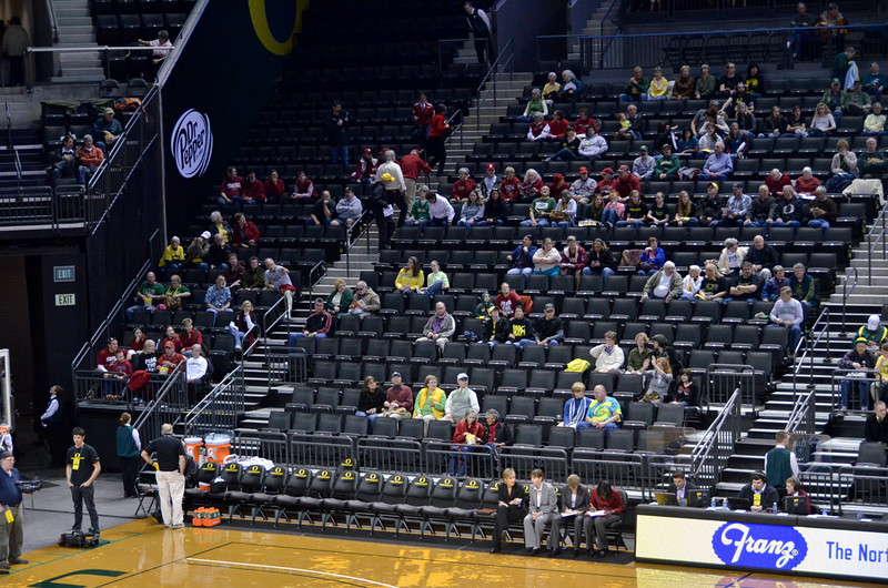 FBC and local stanford fans behind the bench