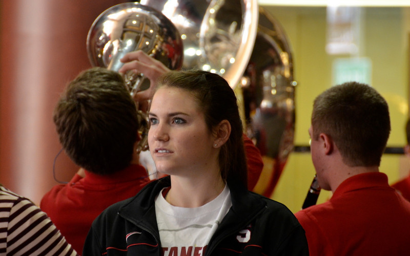 Team watches band concert at send-off.