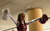 Cheerleader at the send-off.