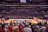 Overview of the staples center during anthem. The ushers made everyone sit on this side so the stands would look full on TV, hence the empty seats on the other side.