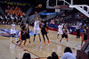 Also in the first game, El Sara Greer of OSU goes for a block on Becca Tobin of ASU but misses.