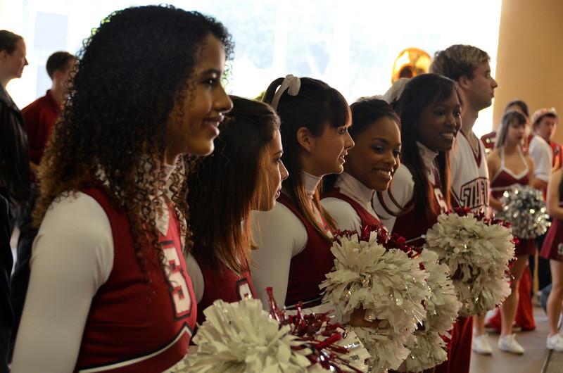 Cheerleaders at the send-off.