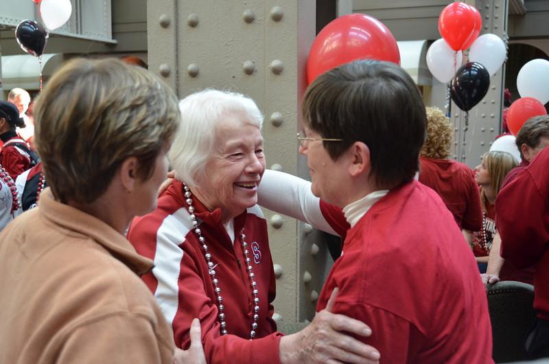 Heidi Vanderveer and Tara's Mother, greet Bea Gorton, Tara's coach at Indiana University.