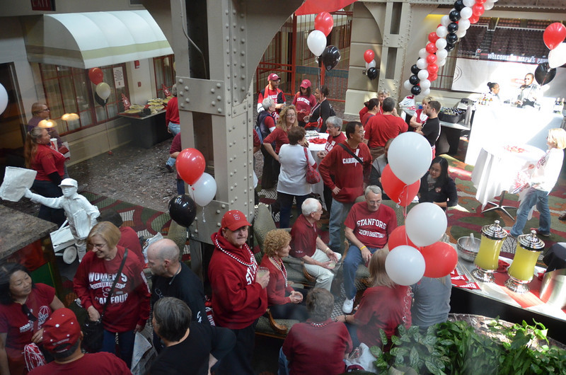 Fans gathered in among the girders of the Crown Plaza hotel, a converted railroad overpass.