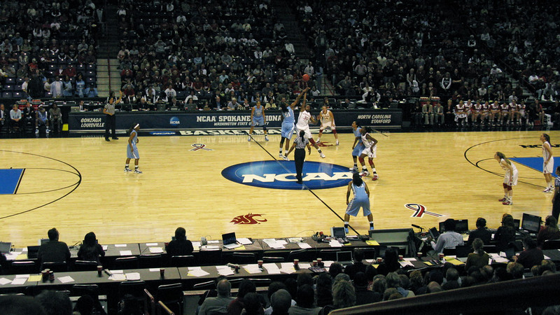 Tip-off of the UNC game.