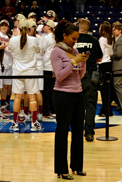Ros checks her pictures.
