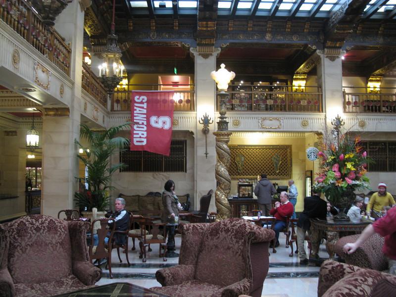 Atrium of the restored Davenport Hotel.