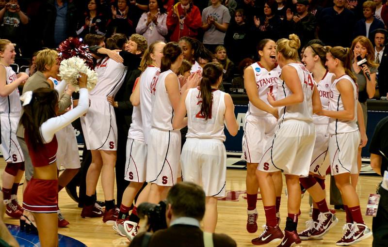 Team celebrates: Amy hugging Sarah Boothe.