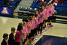 This was Breast Cancer Awareness day at UA and both teams warmed up in pink