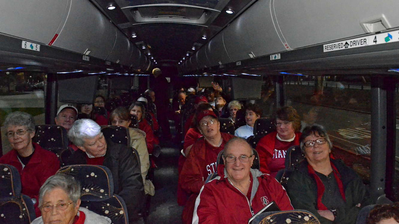 Thirty-six members of the Fast Break Club rode a bus to the game.