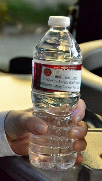 The Amy Tucker Fan Club provided customized water bottles for the bus.