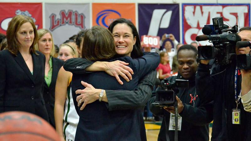 Katy Steding looks on as Jennifer congratulates Tara.