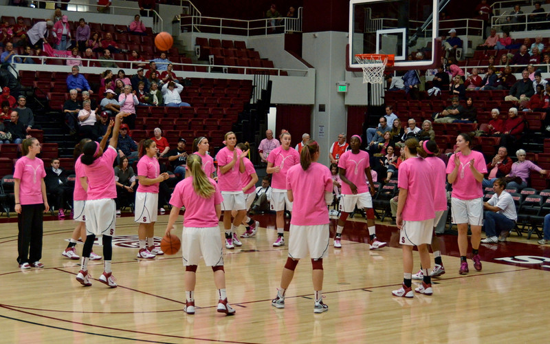 On Breast Cancer Awareness night the team warmed up in pink