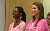 """Team managers  Dorothy Boakye-Donker  and Kerry Blake were honored at the postgame """"tent."""""""