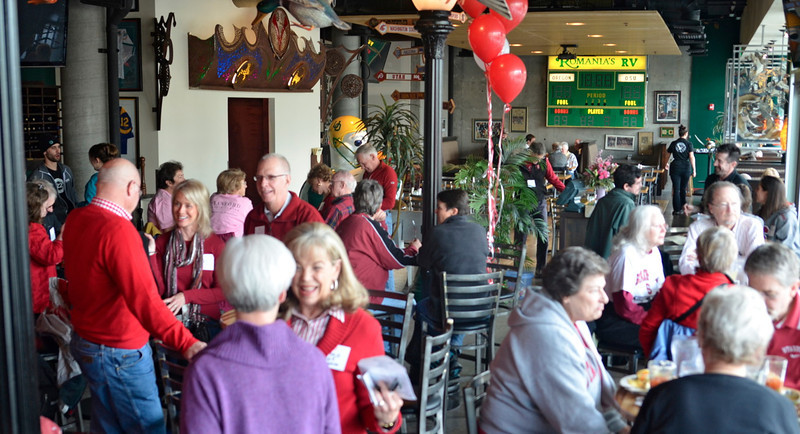 Stanford fans met for brunch at the Wild Duck. Foreground, Barb Arnold who arranged the brunch.