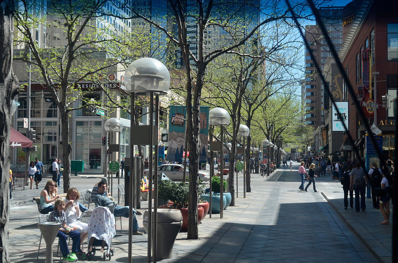 "View of the 16th Street Mall from the front window of the free bus we called the ""Mall Crawler"". We liked the pedestrian mall a lot."