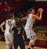 Tess controls a rebound.