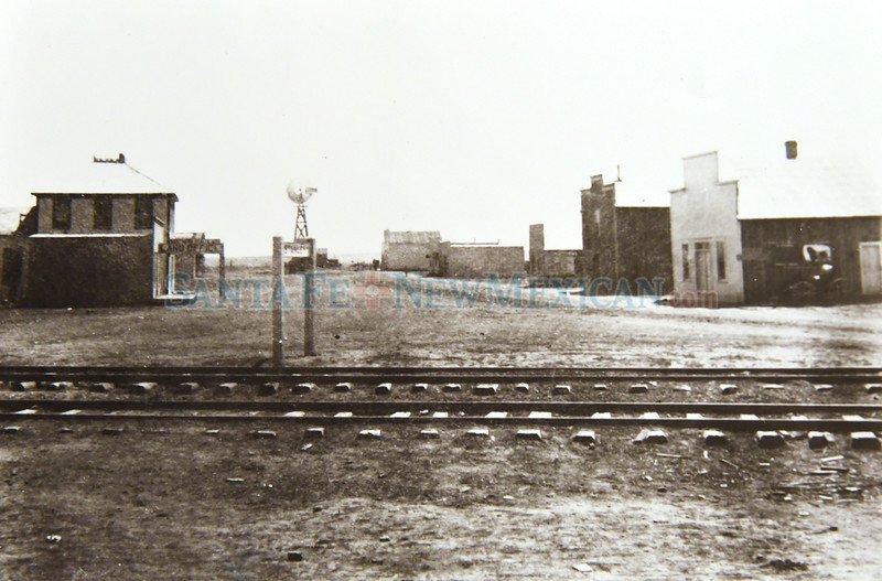 1908 historical photo looking east down what is now Kinsell Ave with the Central New Mexico rail road tracks in Stanley, New Mexico.