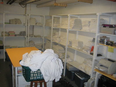Linen room and laundry  in basement of Oceanic Hotel