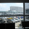 Looking outside the terminal, on the longest walk out of a terminal ever.