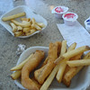 My lunch at Ivar's Seafood Bar in the airport: salmon and chips