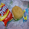 Meal from plane...fritos, turkey sandwich, and a mayo packet.