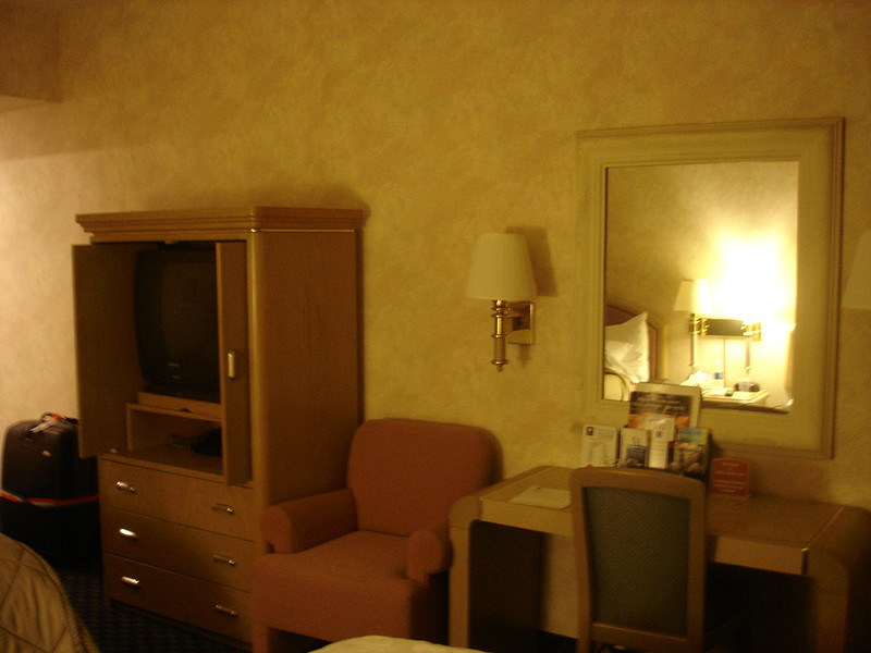 Our room at SeaTac Comfort Suites - TV, chair, desk