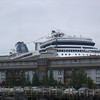 Celebrity Infinity docked in back, Edgewater in front