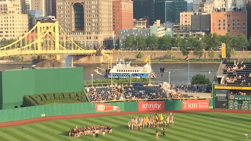 Natalie and some of her friends sang the National Anthem before the start of the Pirates game on June 10, 2015.  They were part of the combined chorus of the Markham and Washington elementary schools from Mt. Lebanon.