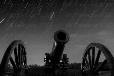 Cannon and star trails