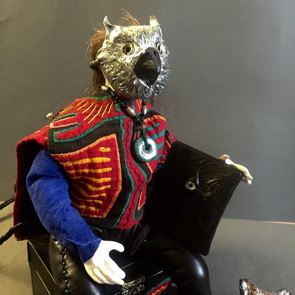 Blassille wearing owl mask