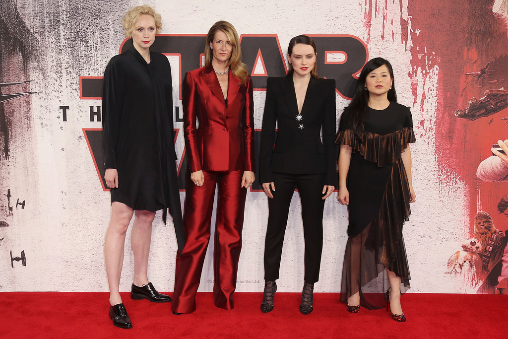 . Actresses Gwendoline Christie, from left, Laura Dern, Daisy Ridley and Kelly Marie Tran pose for photographers at the photo call for the film \'Star Wars: The Last Jedi\' in London, Wednesday, Dec. 13th, 2017. (Photo by Joel C Ryan/Invision/AP)
