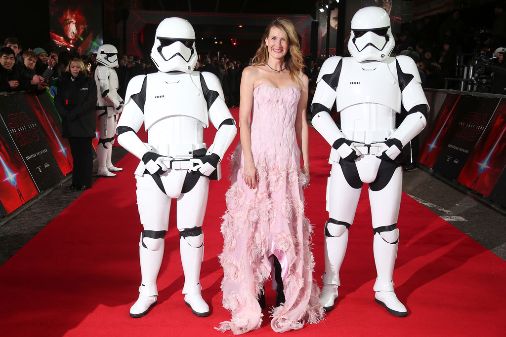 . Actress Laura Dern poses with people dressed as Stormtroopers upon arrival at the premiere of the film \'Star Wars: The Last Jedi\' in London, Tuesday, Dec. 12th, 2017. (Photo by Joel C Ryan/Invision/AP)