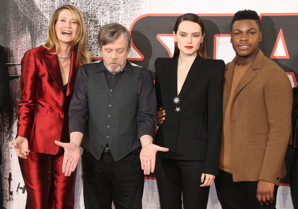 . Actors Laura Dern, from left, Mark Hamill, Daisy Ridley and John Boyega pose for photographers at the photo call for the film \'Star Wars: The Last Jedi\' in London, Wednesday, Dec. 13th, 2017. (Photo by Joel C Ryan/Invision/AP)
