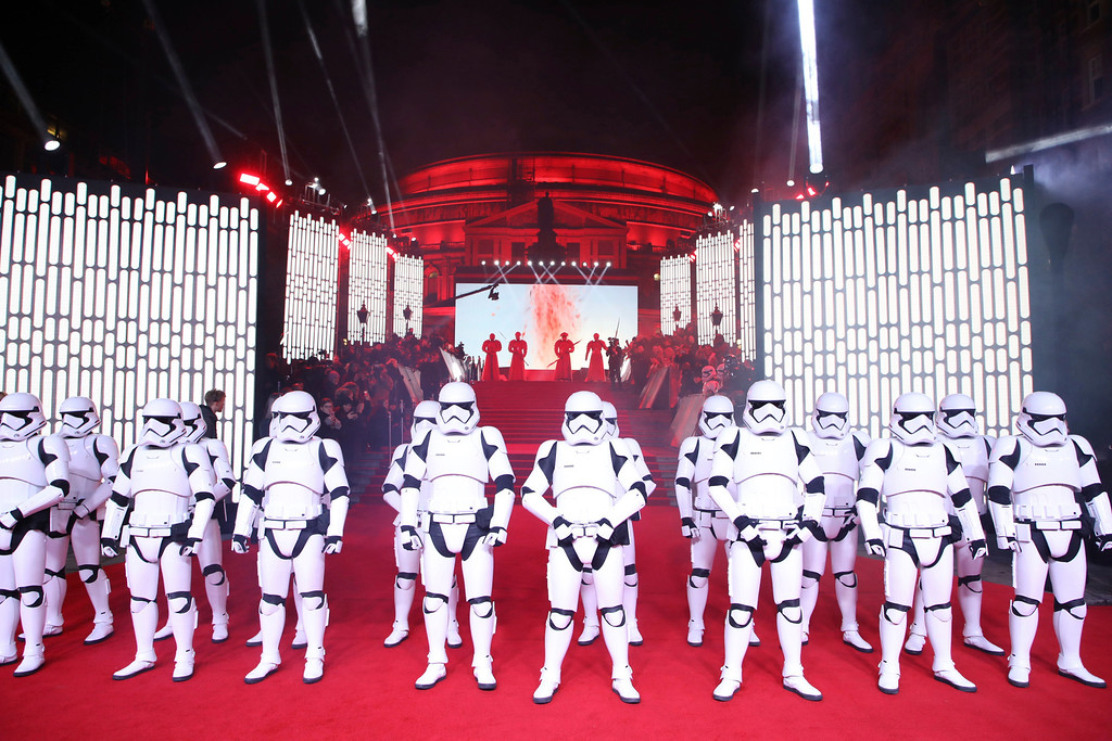 . People dressed as Stormtroopers pose on the red carpet ahead of the premiere of the film \'Star Wars: The Last Jedi\' in London, Tuesday, Dec. 12th, 2017. (Photo by Vianney Le Caer/Invision/AP)
