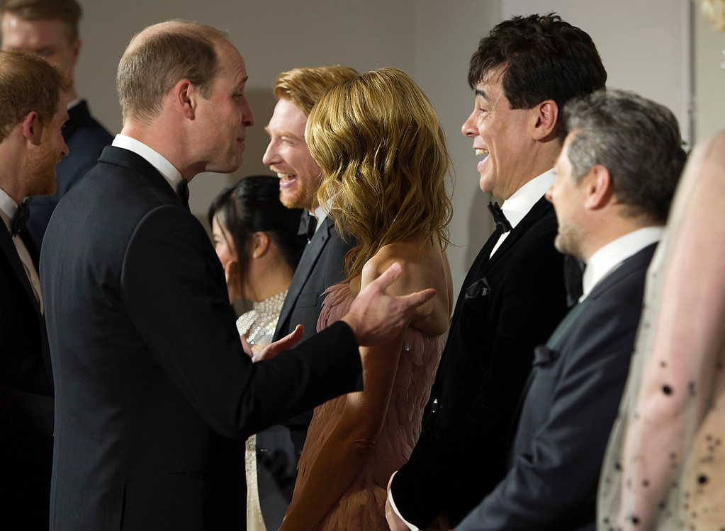 . Britain\'s Prince William speaks with actor Benicio del Toro at the European premiere of \'Star Wars: The Last Jedi\' at the Royal Albert Hall, in central London, Tuesday, Dec. 12, 2017. The premiere is hosted in aid of The Royal Foundation of the Duke and Duchess of Cambridge and Prince Harry. (Eddie Mulholland/Pool Photo via AP)