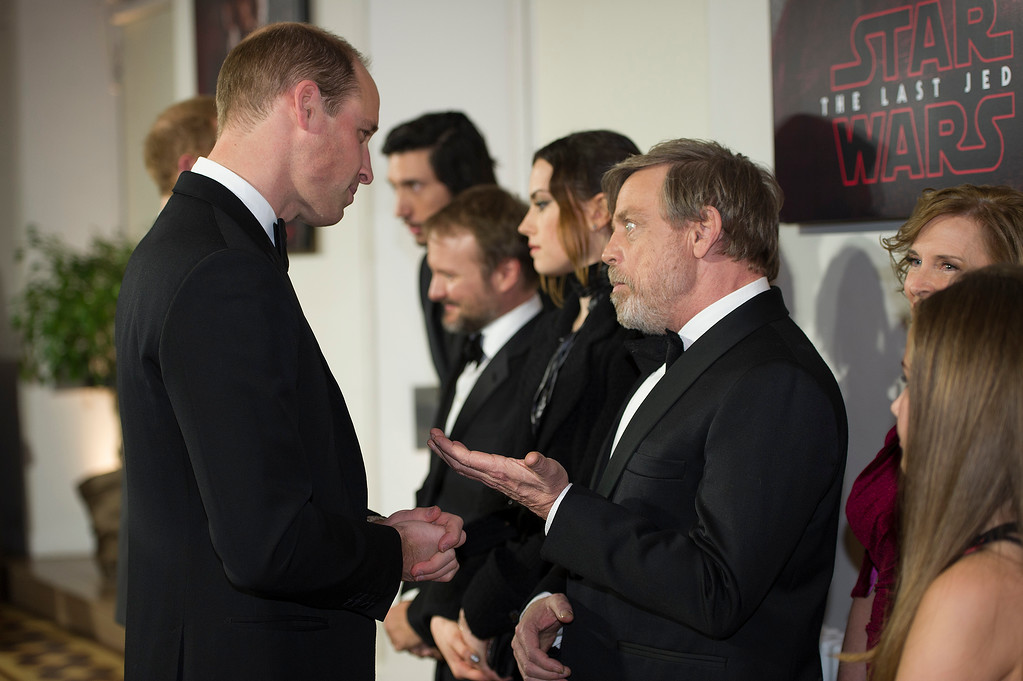 . Britain\'s Prince William speaks with actor Mark Hamill at the European premiere of \'Star Wars: The Last Jedi\' at the Royal Albert Hall, in central London, Tuesday, Dec. 12, 2017. The premiere is hosted in aid of The Royal Foundation of the Duke and Duchess of Cambridge and Prince Harry. (Eddie Mulholland/Pool Photo via AP)