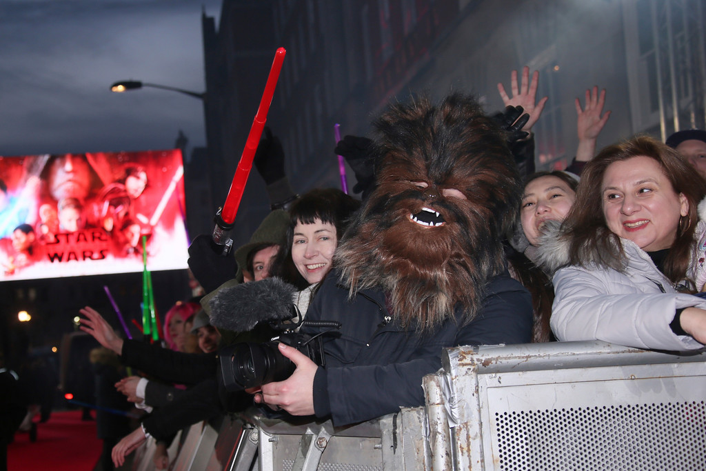 . Fans gather ahead of the premiere of the film \'Star Wars: The Last Jedi\' in London, Tuesday, Dec. 12th, 2017. (Photo by Joel C Ryan/Invision/AP)