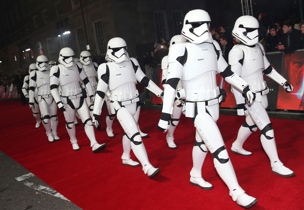 . People dressed as Stormtroopers walk the red carpet ahead of the premiere of the film \'Star Wars: The Last Jedi\' in London, Tuesday, Dec. 12th, 2017. (Photo by Joel C Ryan/Invision/AP)