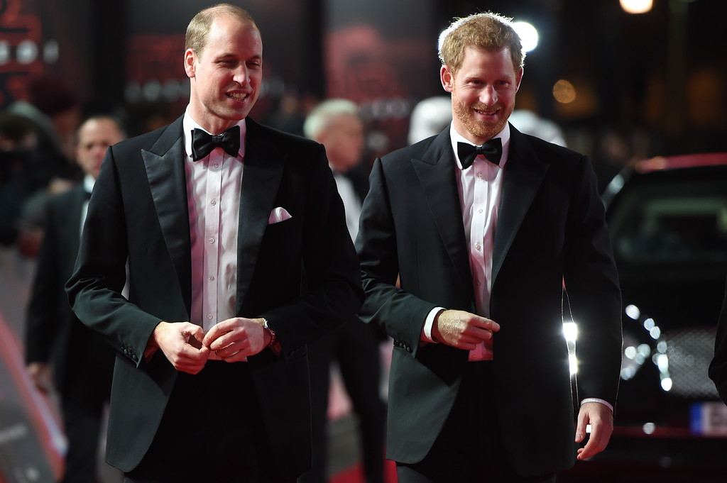. Prince William, Duke of Cambridge, left, and Prince Harry on the red carpet as they attend the European premiere of Star Wars: The Last Jedi, at the Royal Albert Hall, in central London, Tuesday, Dec. 12, 2017. The premiere is hosted in aid of The Royal Foundation of the Duke and Duchess of Cambridge and Prince Harry. (Eddie Mulholland/Pool Photo via AP)
