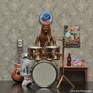 Chewie playing drums