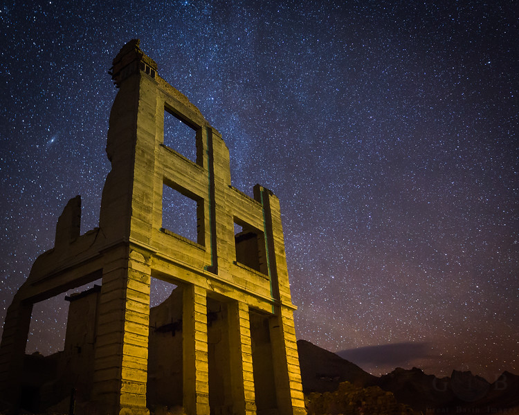 Starry Nights at the Ghost town at Rhyolite, Nevada