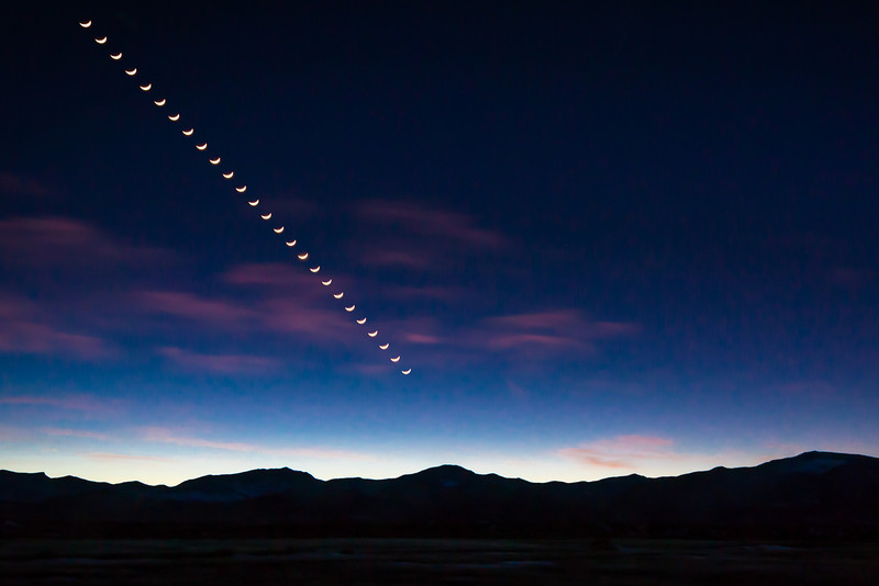 Setting crescent moon over the Snake Range, Nevada
