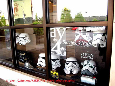 All the helmets in the window belong to the store manager, who is a member of the 501st.