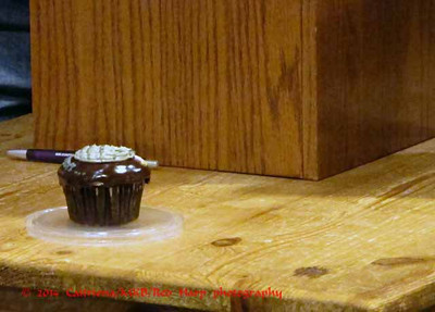 It's Jason's birthday so the staff gave him a death star cupcake