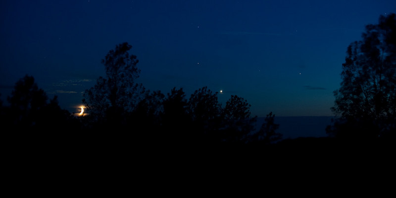 crescent moon, Mars, Venus and Saturn<br /> image by Malcolm Park